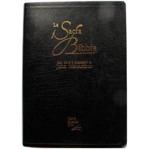 Bibbia da studio John MacArthur copertina in pelle nera, taglio oro